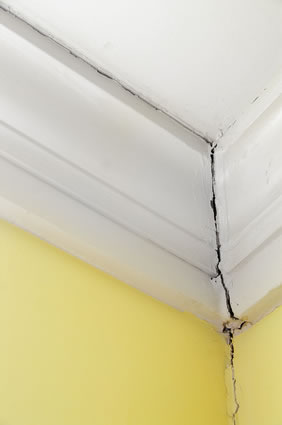 crack in crown moulding and wall